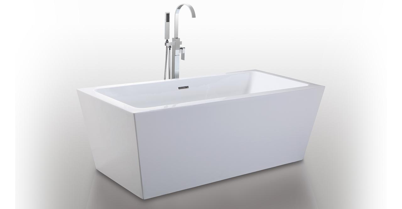 "HelixBath Centaur Freestanding Bathtub  Acrylic 63"" w/ Re..."