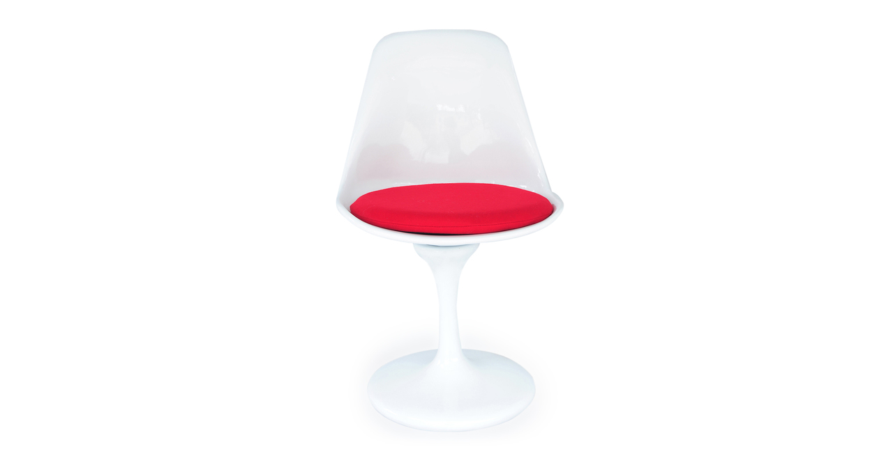 Kardiel Tulip Style Side Chair White Fiberglass, Red Cash...