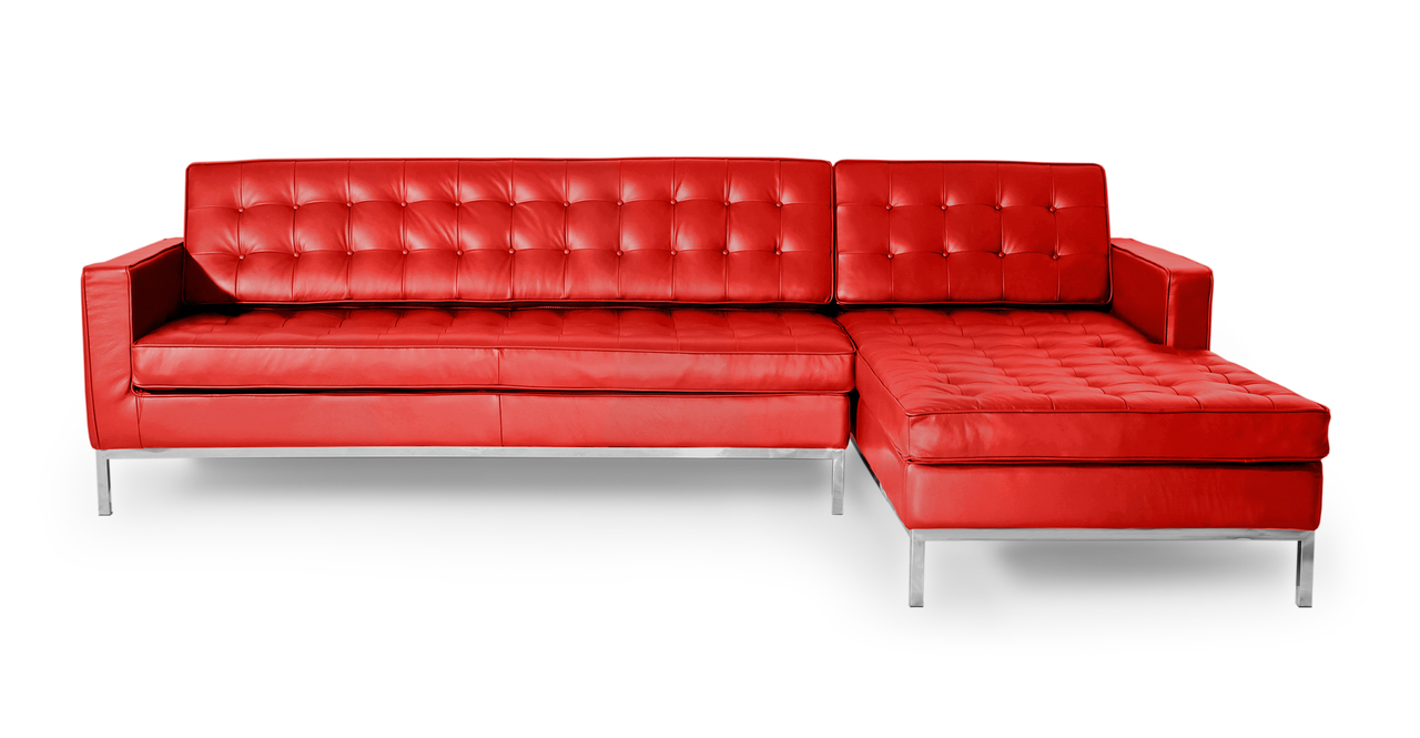 Kardiel Florence Knoll Style Sofa Sectional Right, Red 10...