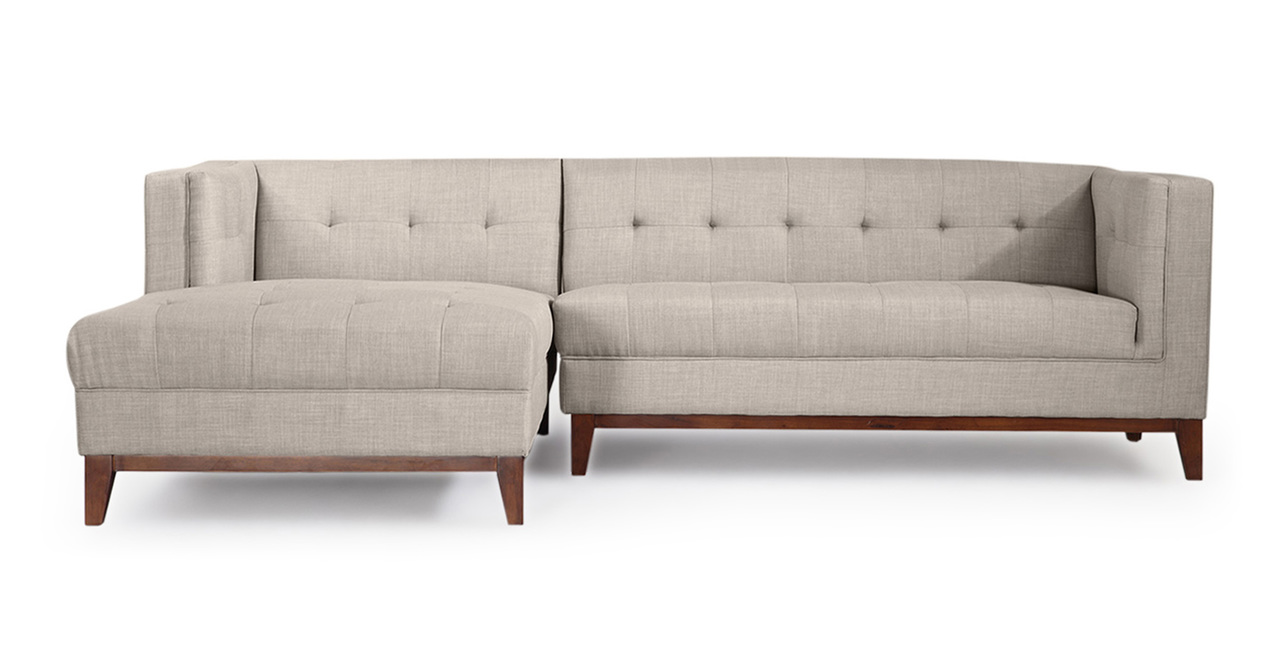 Harrison modern loft sofa chaise sectional left face dove for Dove grey sectional sofa