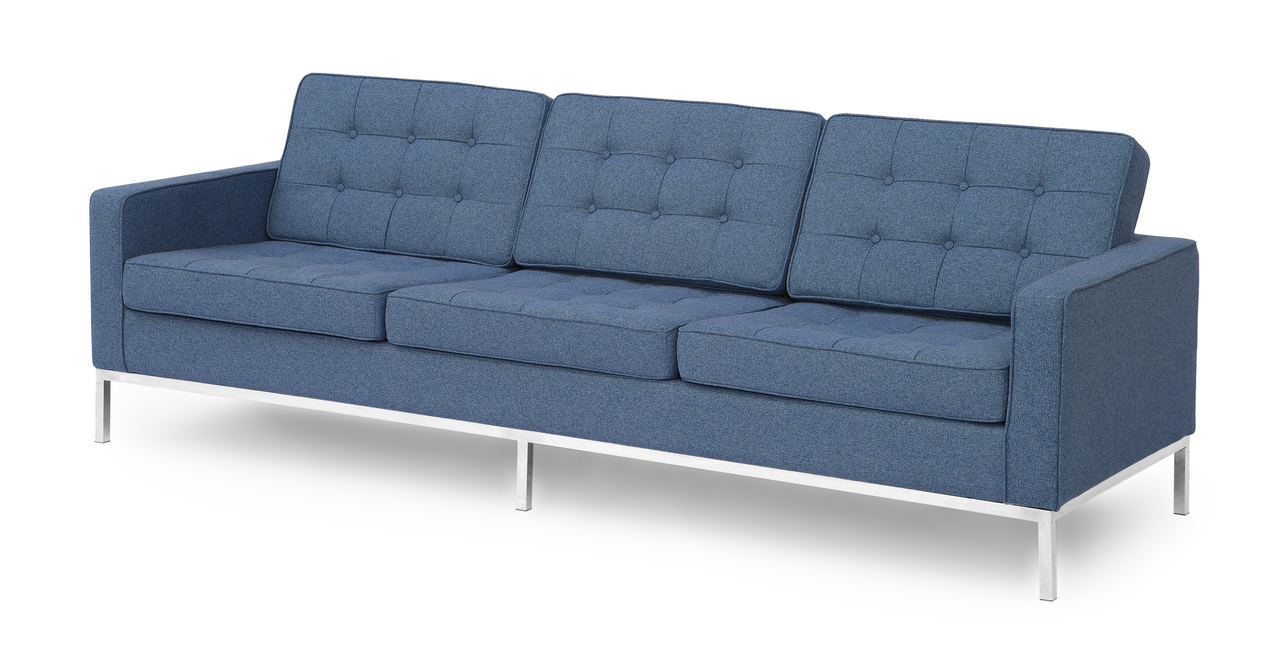 florence knoll style sofa 3 seat azure houndstooth twill ebay. Black Bedroom Furniture Sets. Home Design Ideas