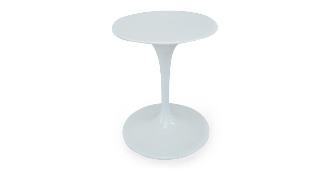"""Kardiel Tulip Style Round Table White Fiberglass, 24"""" Dia..."""