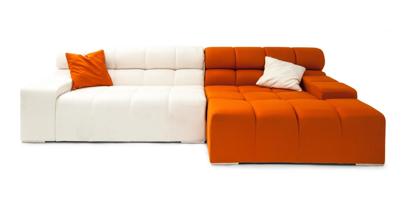Cubix Modern Modular Sofa Sectional Right, Carrot/Chalk W...
