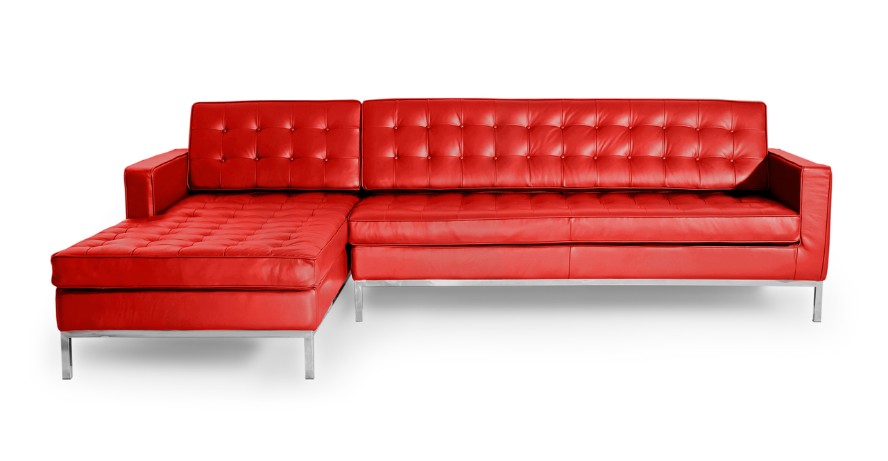 Kardiel Florence Knoll Style Sofa Sectional Left, Red 100...