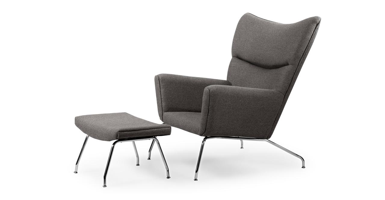 Kardiel Hans J Wegner Style Wing Chair & Ottoman, Cadet G...