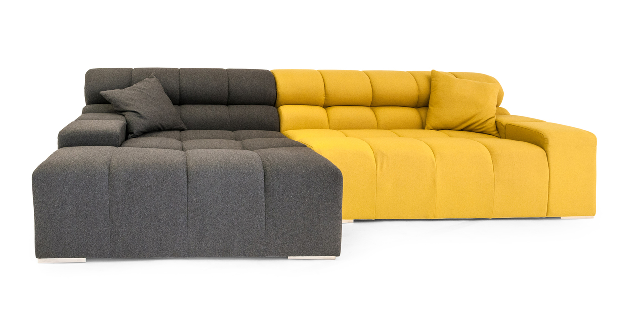 Cubix modern modular sofa sectional left charcoal arylide for Modern modular sectional puzzle sofa