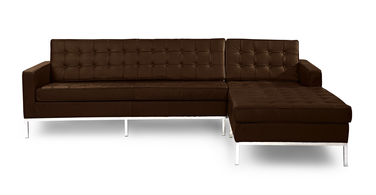 Kardiel Florence Knoll Style Sofa Sectional Right, Espres...
