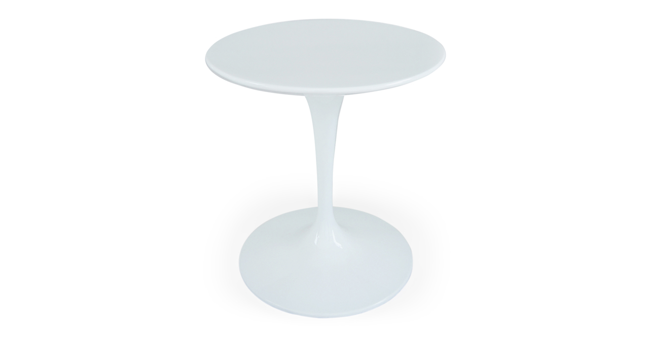 """Kardiel Tulip Style Round Table White Fiberglass, 28"""" Dia..."""
