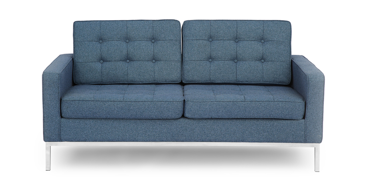 Florence Knoll Style Loveseat Azure Houndstooth Twill Ebay