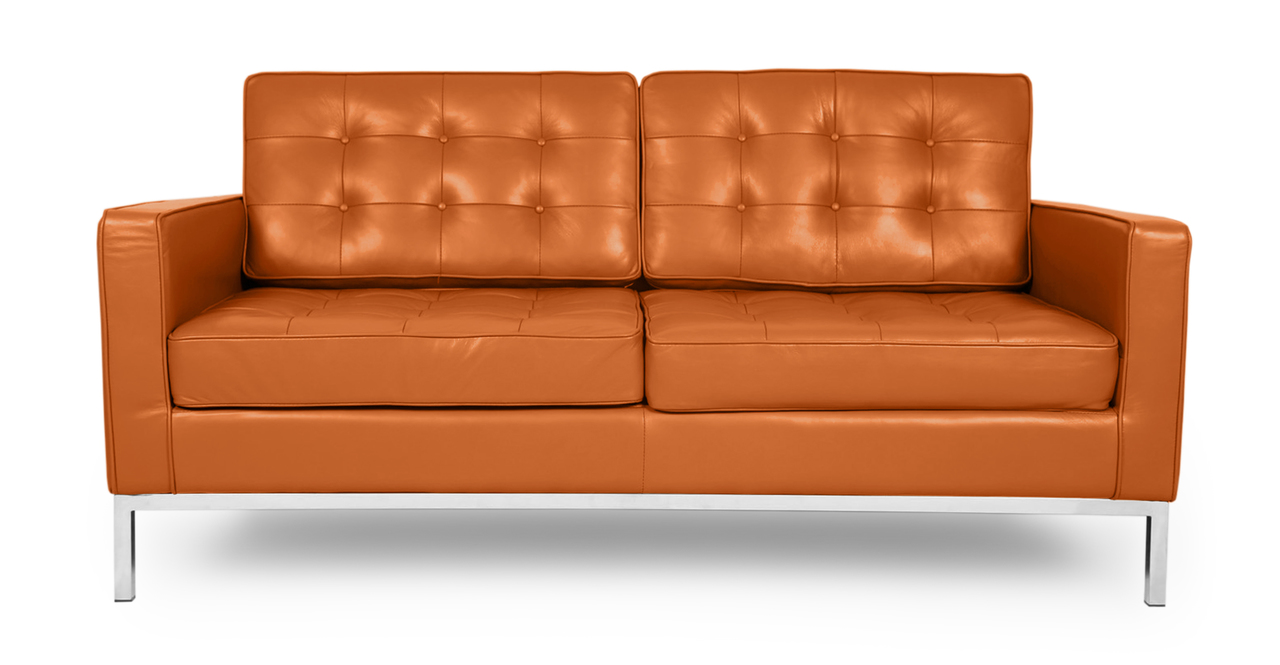Florence Knoll Style Loveseat Caramel Aniline Leather Ebay