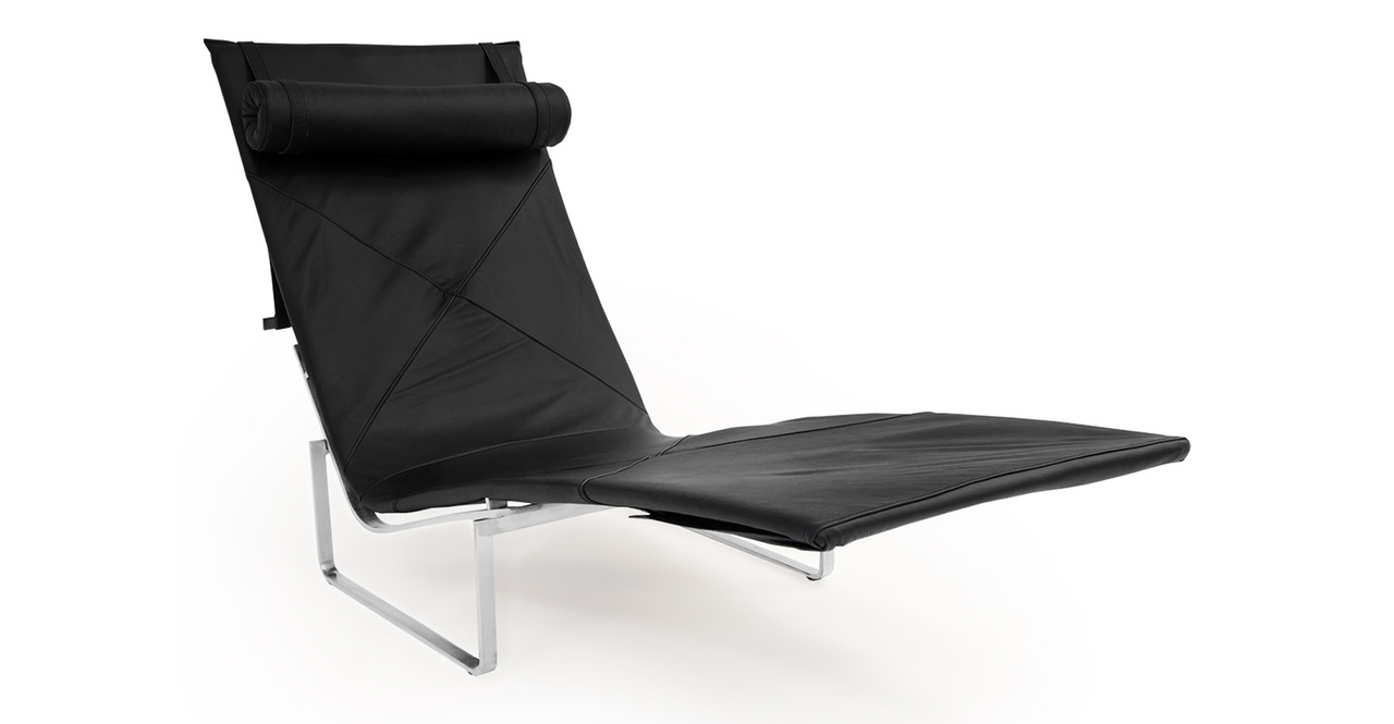 Kardiel PK24 Modern Chaise Lounge Chair, Black Aniline Le...