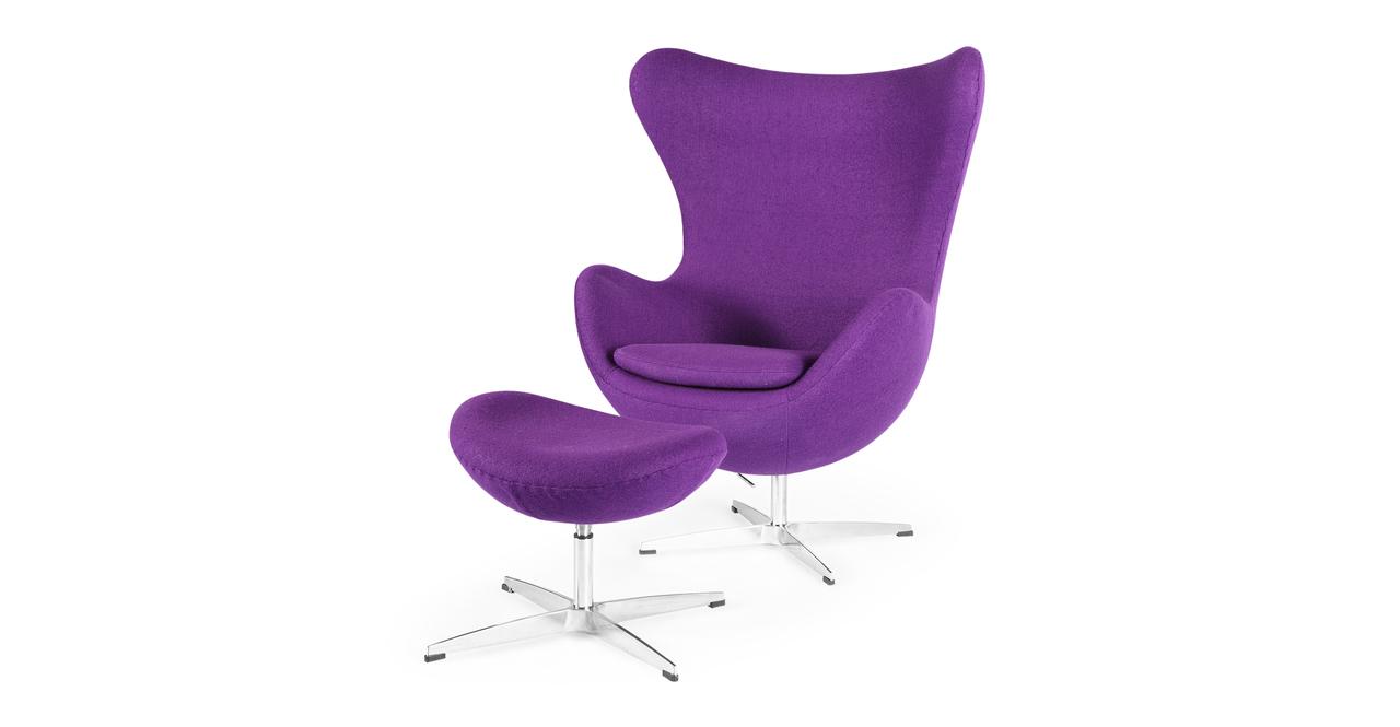 Kardiel Egg Chair & Ottoman, Purple Boucle Cashmere Wool