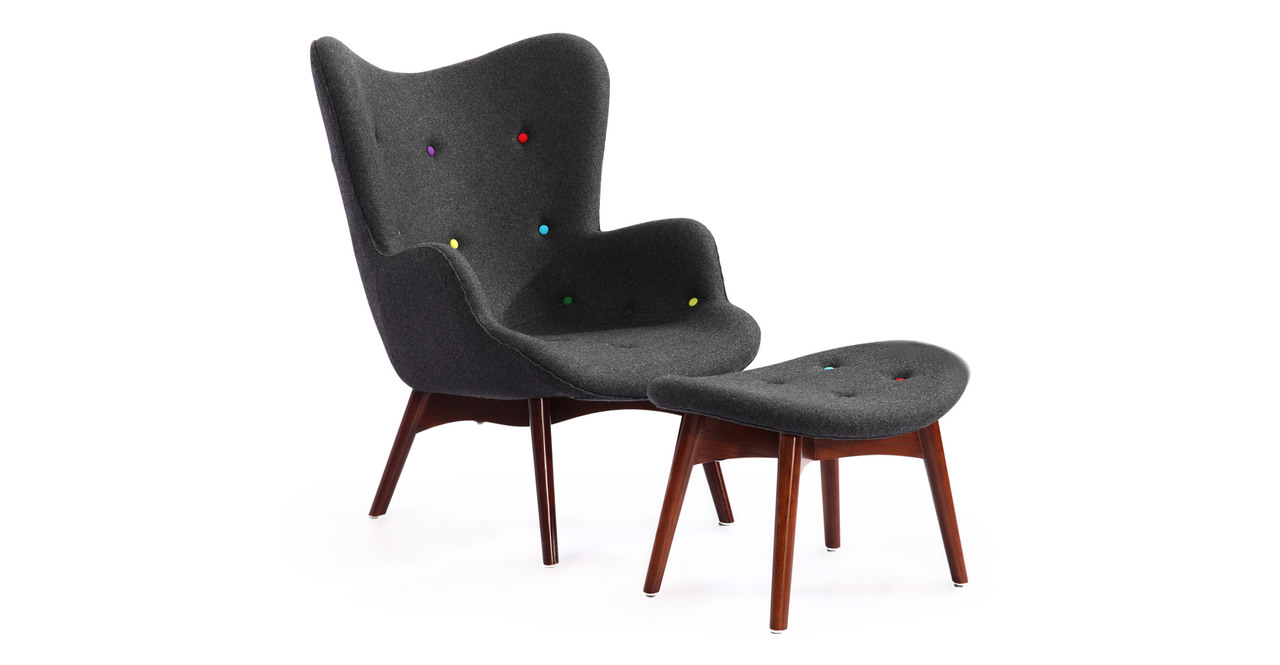 Kardiel Grant Featherston Contour Wing Chair & Ottoman, C...