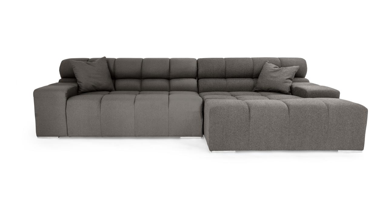 Cubix Modern Modular Sofa Sectional Right, Cadet Grey Cas...