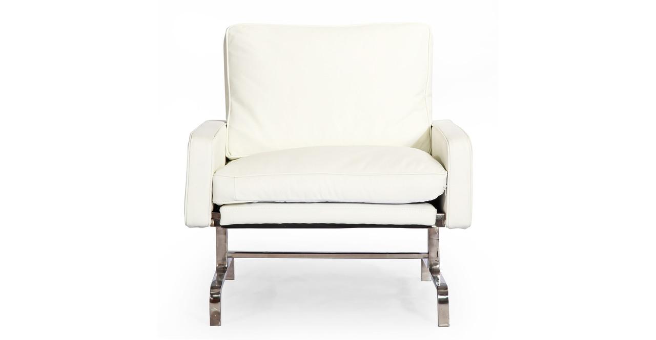 Kardiel PK31 Style Modern Armchair, Arctic White Aniline ...
