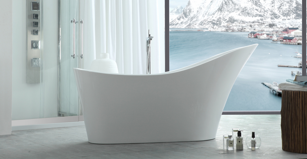 HelixBath Caracalla Freestanding Slipper Modern Bathtub 6...