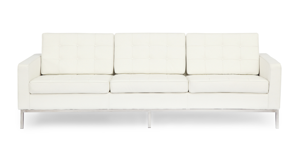 florence knoll style sofa 3 seat cream white premium premium aniline leather ebay. Black Bedroom Furniture Sets. Home Design Ideas