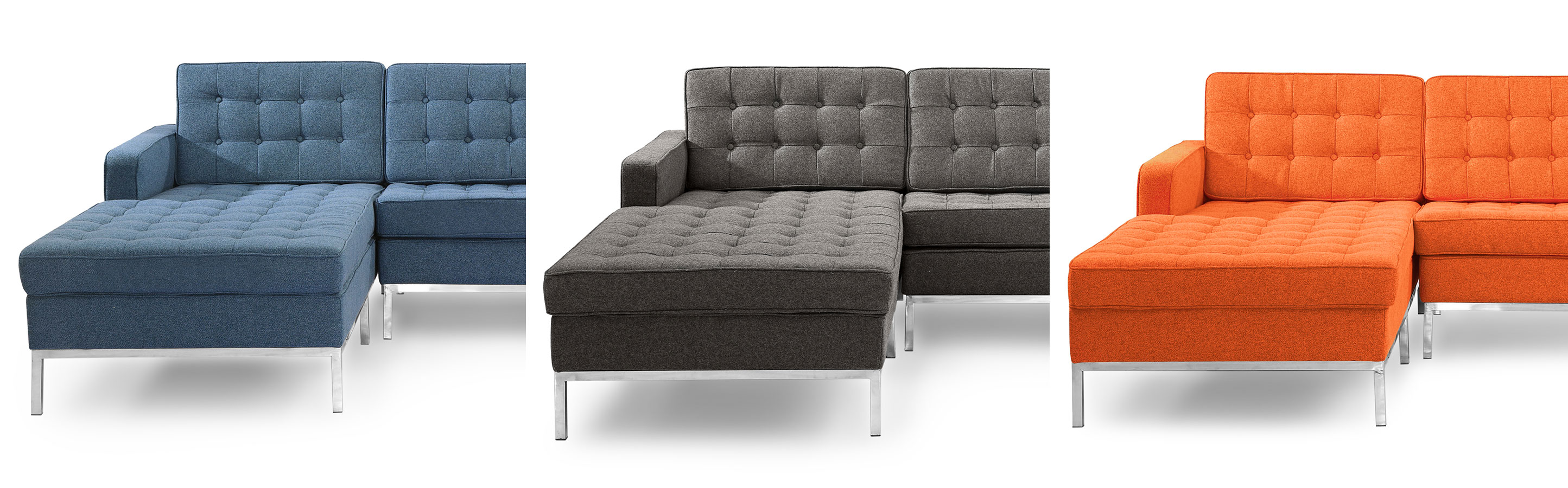 Cubix modern tufted chaise sofa sectional for Florence modern sectional sofa