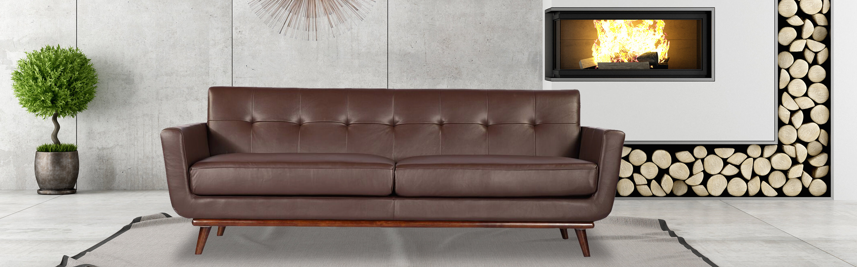 Jackie Mid Century Modern 3 Seater Sofa by Kar l