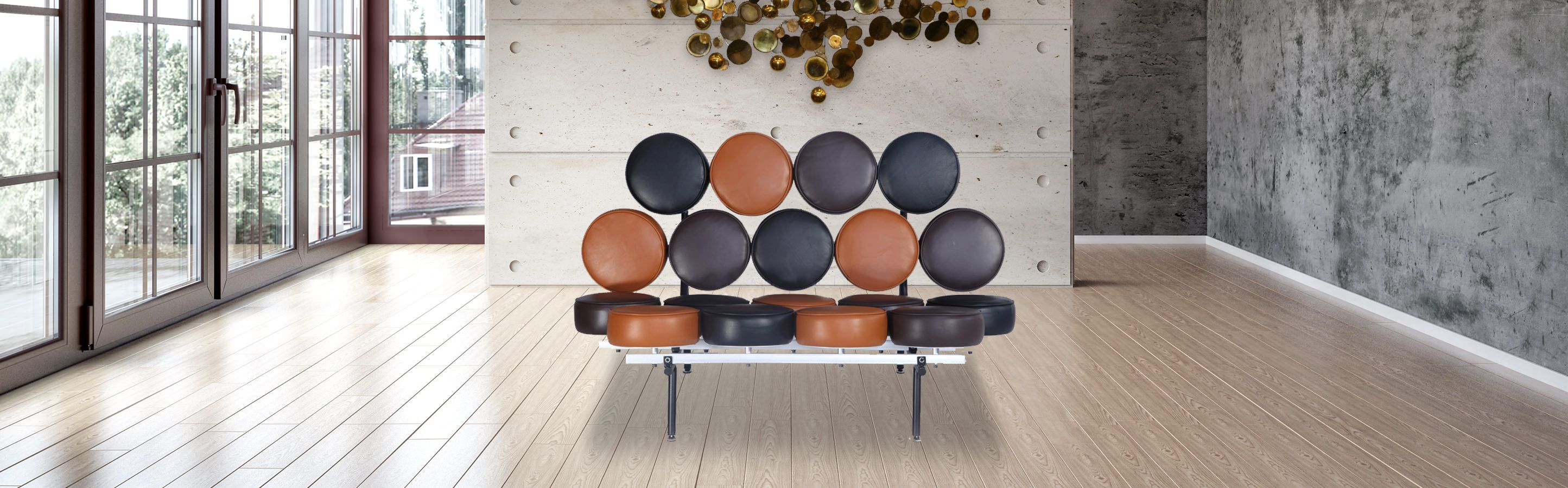 Marshmallow Sofa George Nelson 100 Top Grain Aniline Leather
