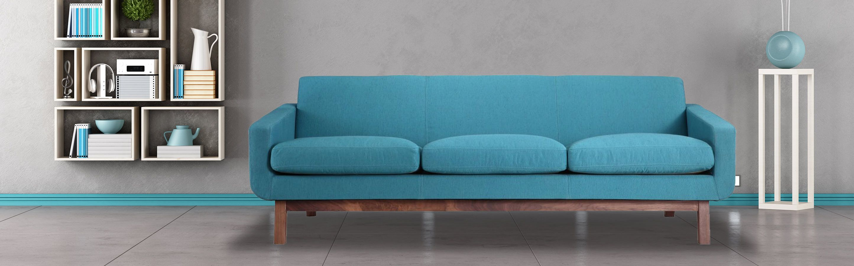 Platform Mid Century Modern Sofa