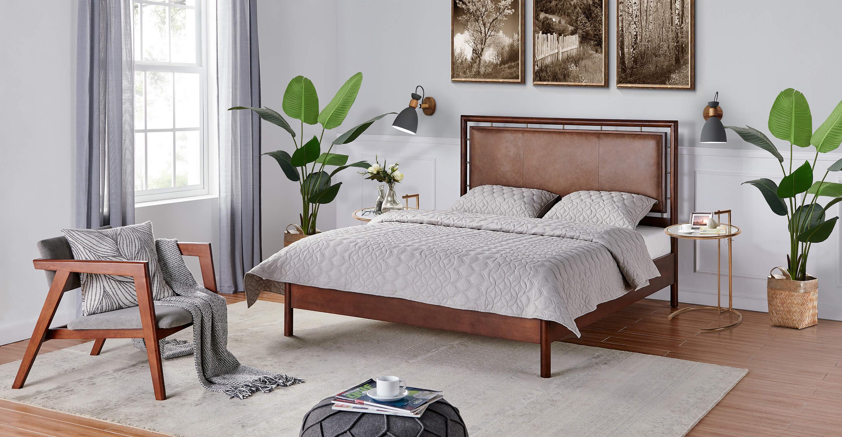 Westwood Bed King Walnut Napoli Tan Kardiel