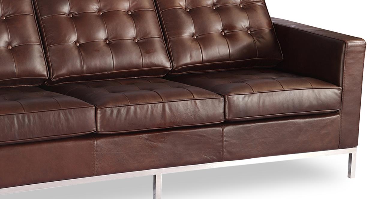 Florence Knoll Style Sofa 3 Seat Vintage Brown Premium