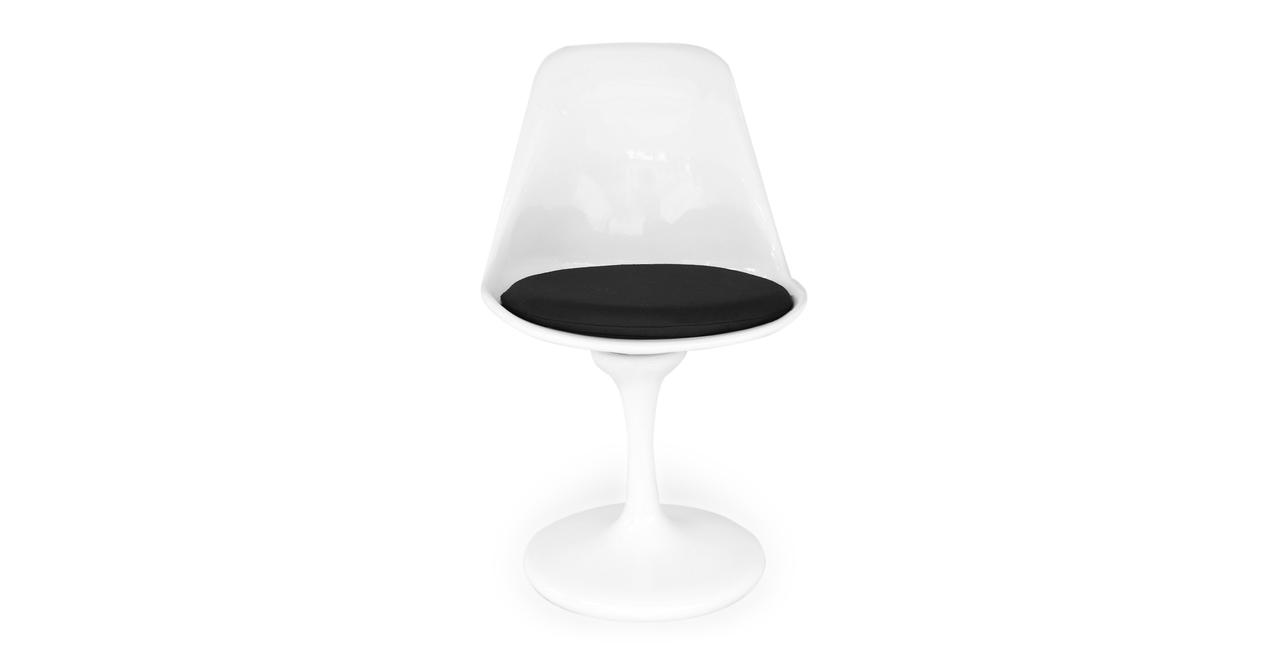 Kardiel Tulip Style Chair White Fiberglass, Black Cashmer...