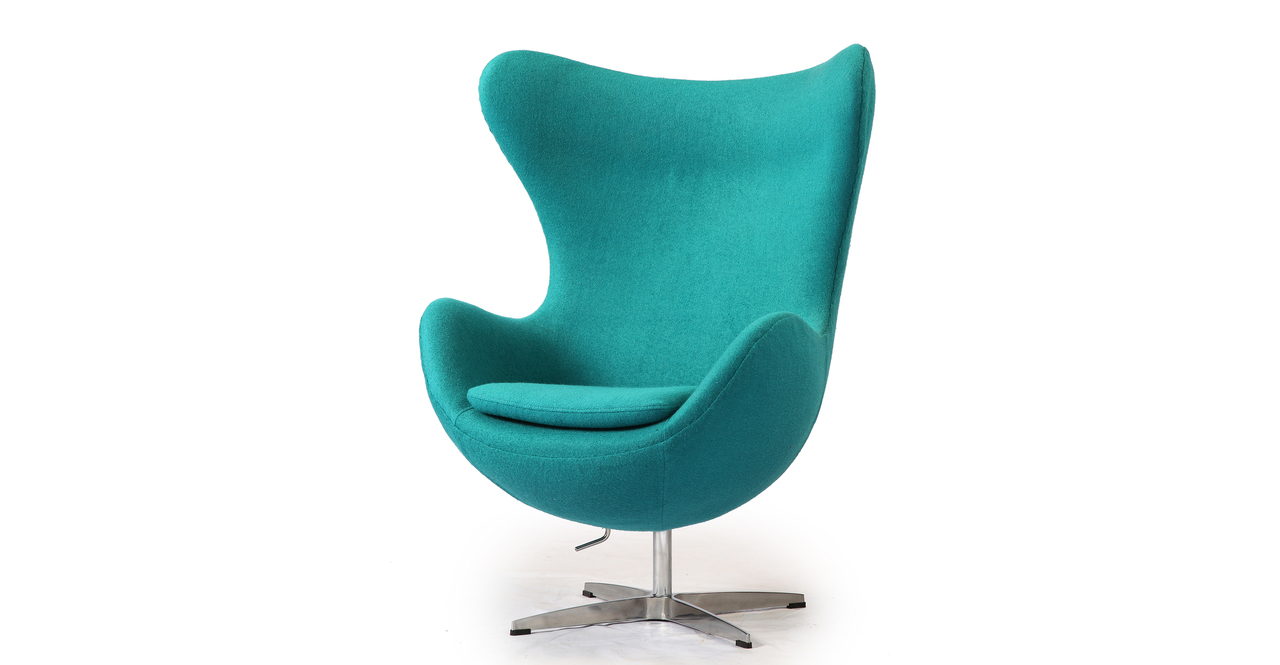 Egg Chair Ottoman Turquoise Boucle Cashmere