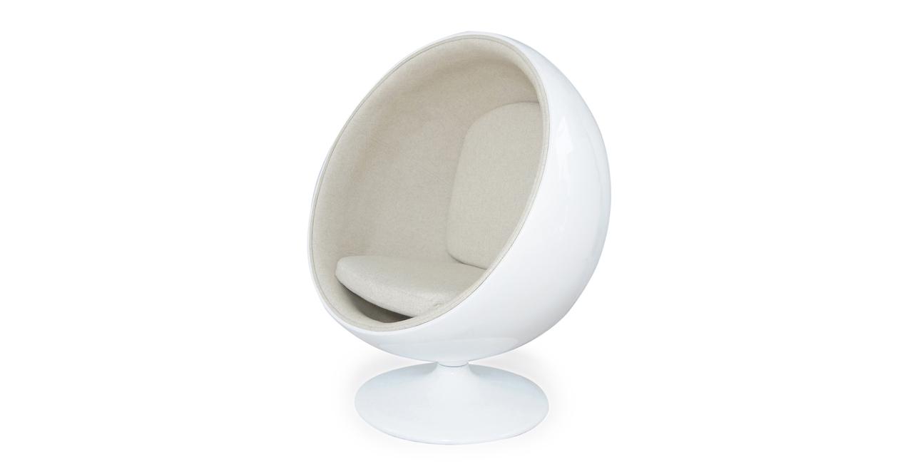 Ball chair white fiberglass white peacoat wool globe egg classic retro modern - Fiberglass egg chair ...