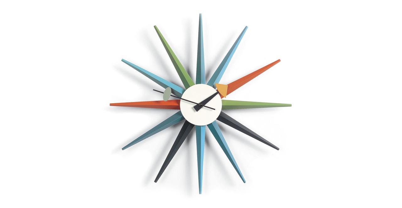 Kardiel George Nelson Sunburst Clock, Multi-color Rays
