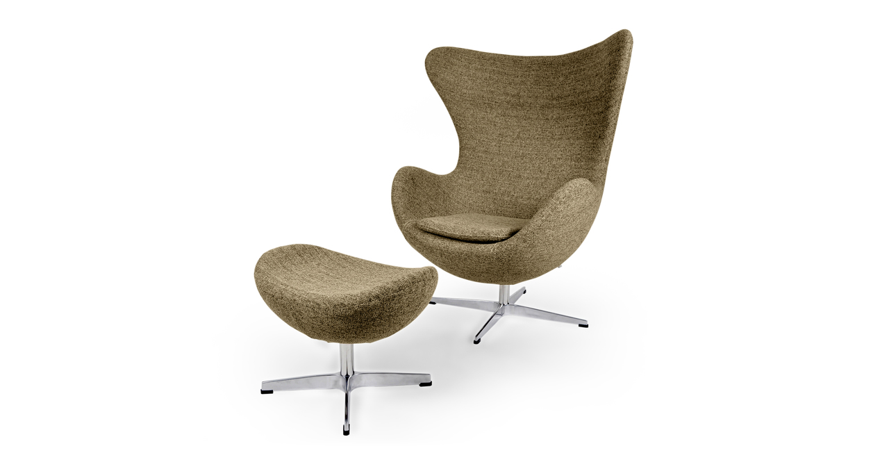 Kardiel Egg Chair & Ottoman, Oatmeal Houndstooth Twill