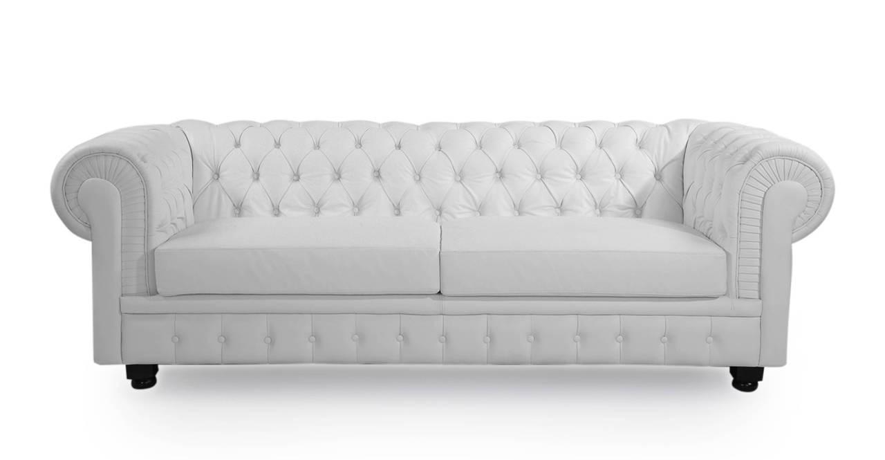 chesterfield style modern classic sofa arctic white premium aniline leather ebay. Black Bedroom Furniture Sets. Home Design Ideas