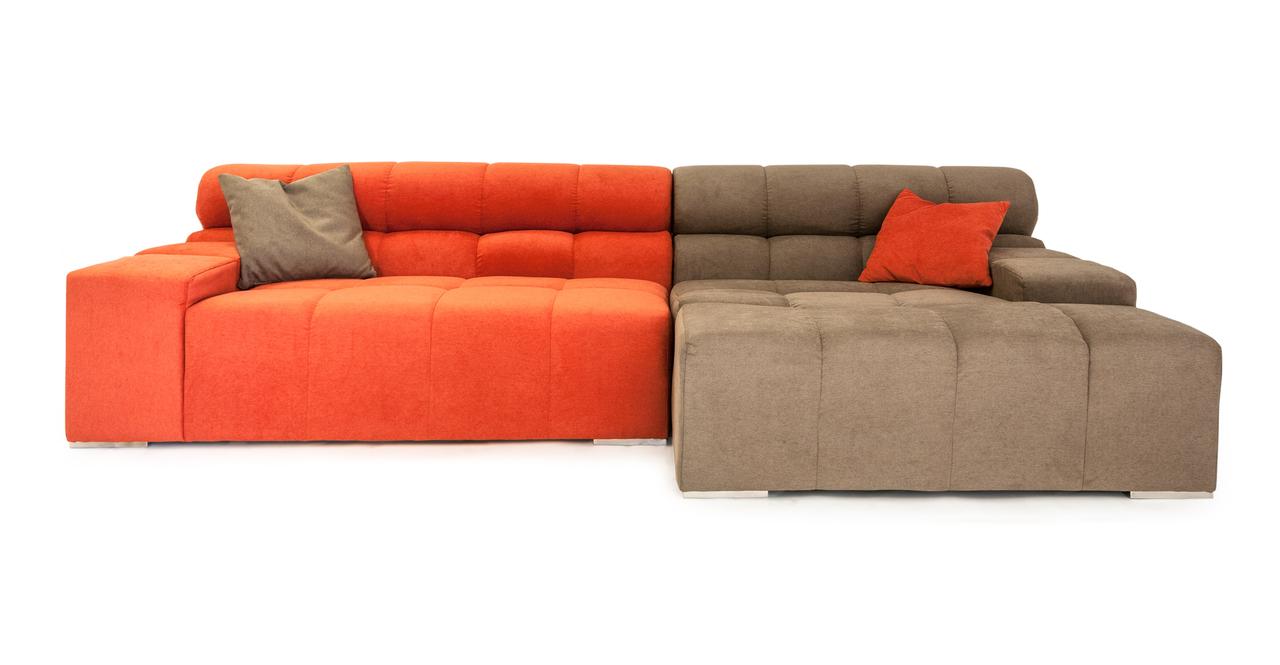 Cubix Modern Modular Sofa Sectional Right, Mushroom/Plush...