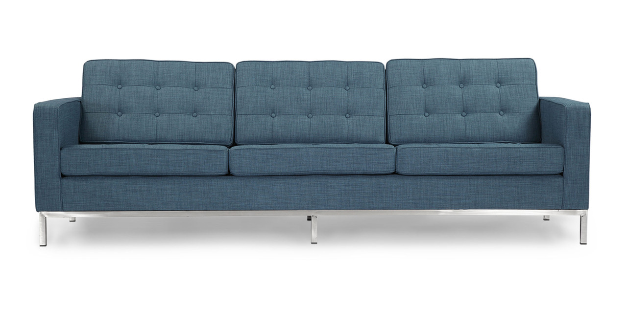 florence knoll style sofa 3 seat blue curacao vintage tailored twill ebay. Black Bedroom Furniture Sets. Home Design Ideas