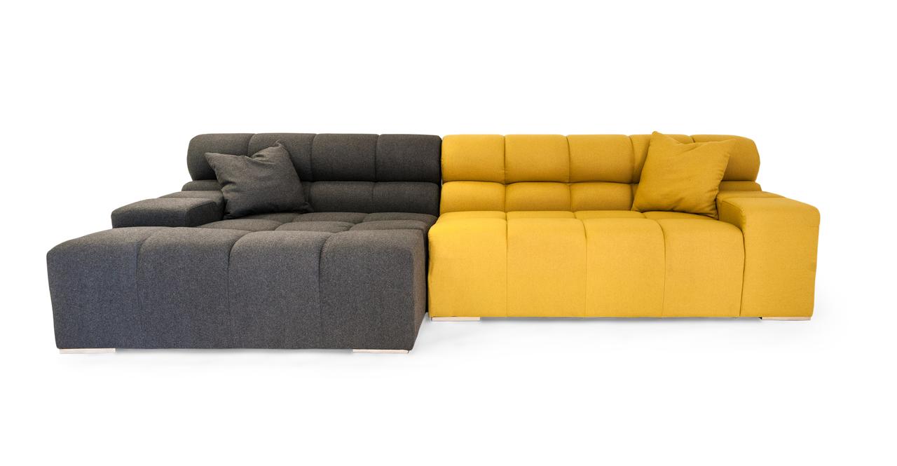 Cubix Modern Modular Sofa Sectional Left, Charcoal/Arylid...