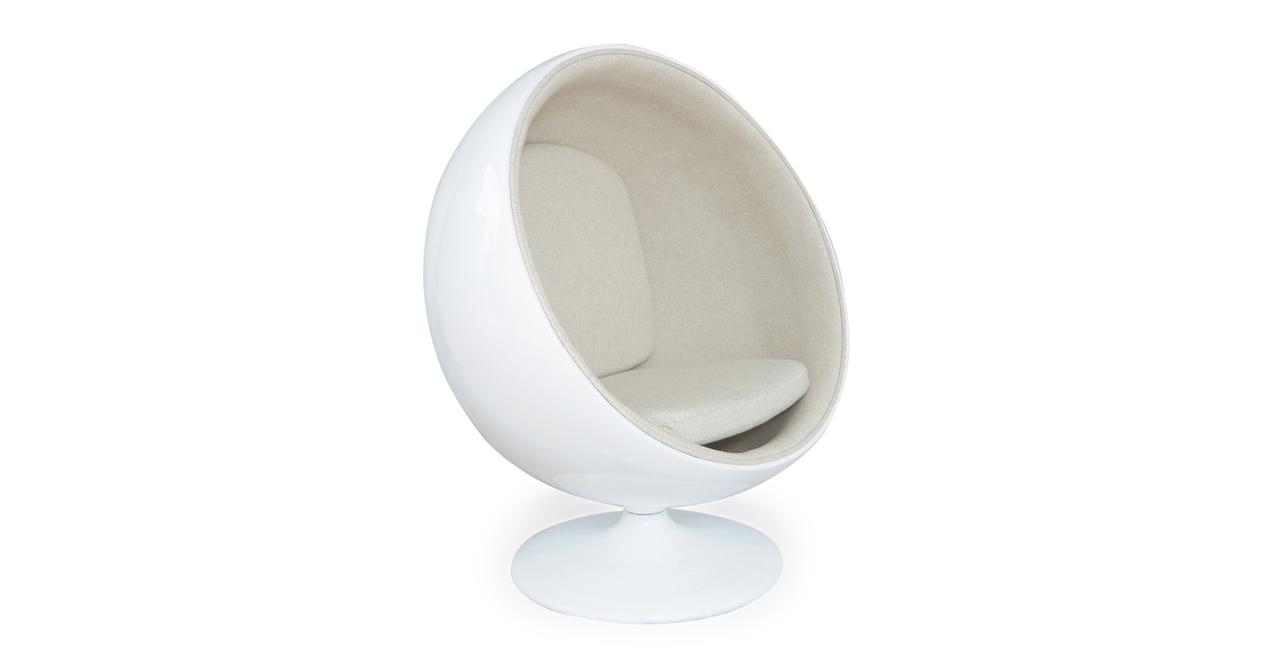 Kardiel Ball Chair, White/White Peacoat Wool