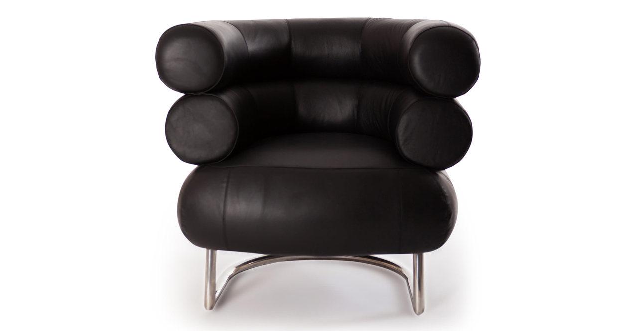 Eileen Gray Bibendum Style Modern Chair, Black Aniline Pr...