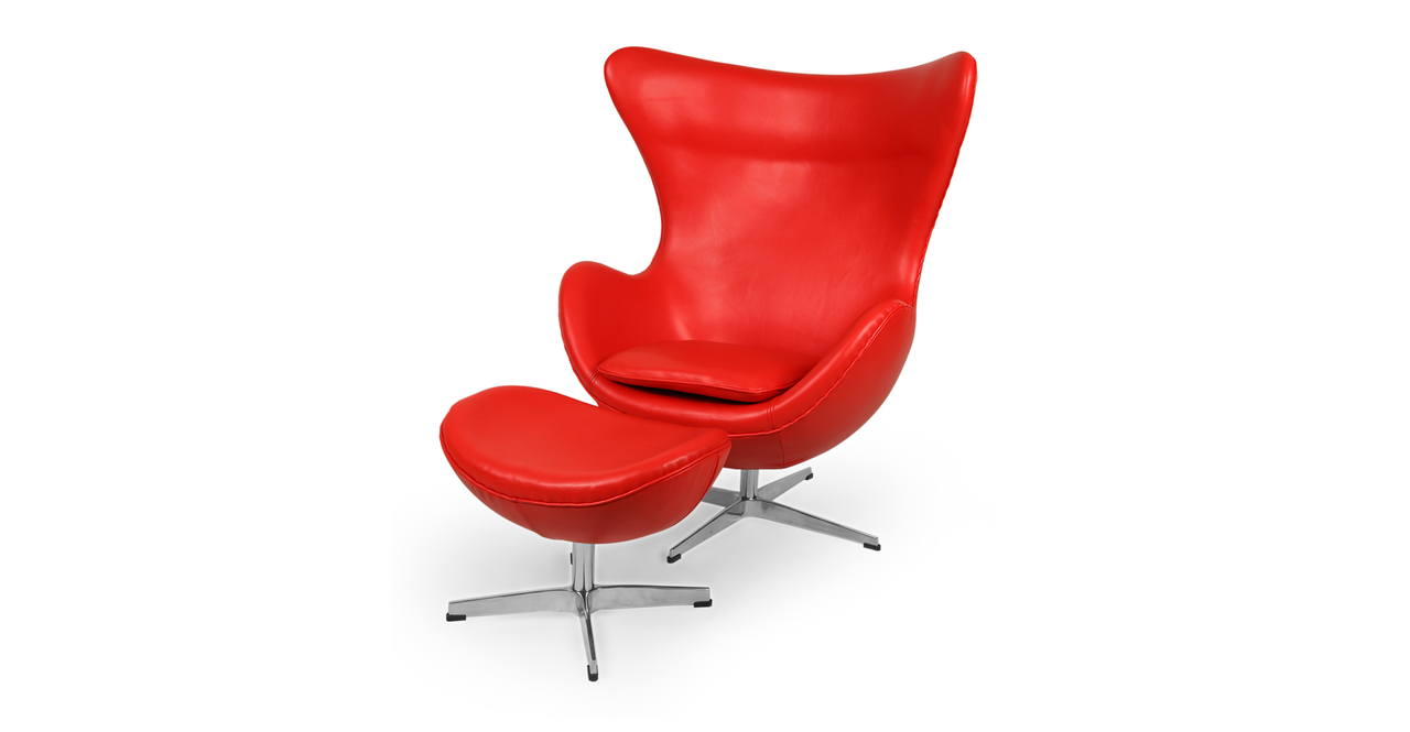 Kardiel Egg Chair & Ottoman, Red Aniline Leather