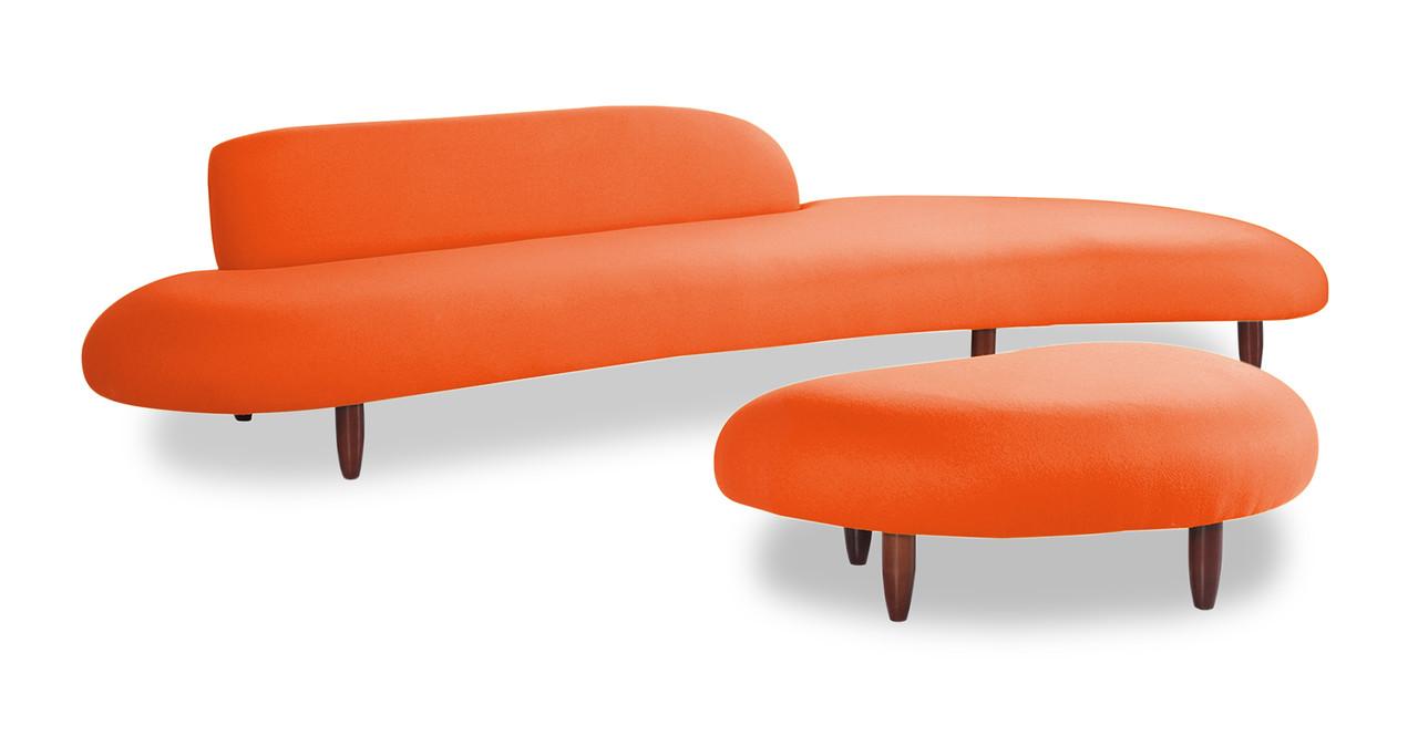 Chaise Orange Rio Orange Leather Sofa Wleft Chaise Alternate  # Foxy Muebles Encastrables