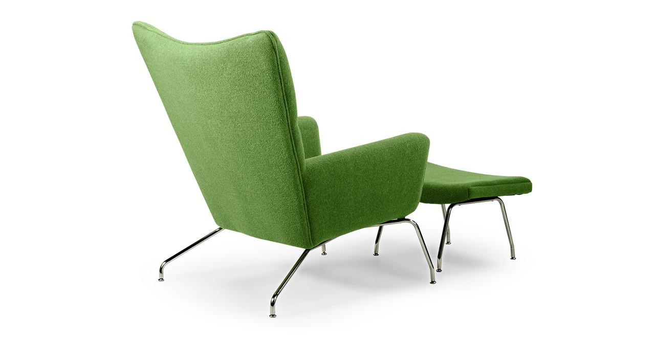wegner wing chair ottoman apple green kardiel