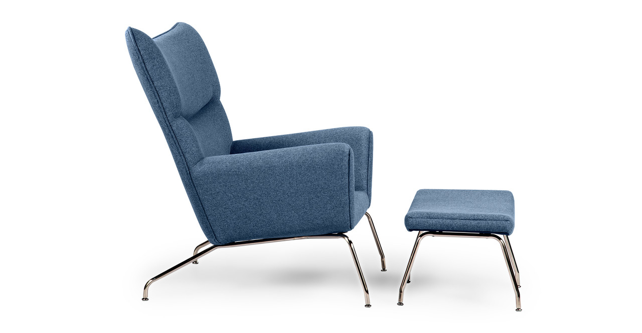 Wegner wing chair ottoman azure kardiel - Wegner wing chair replica ...