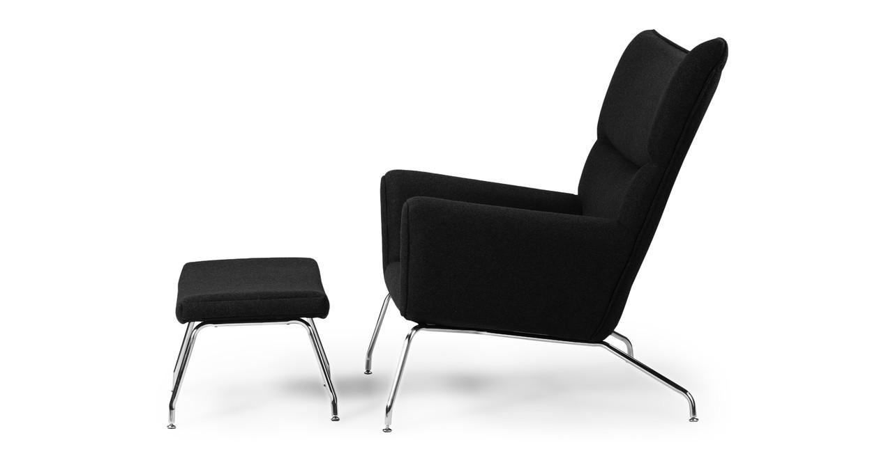 wegner wing chair ottoman black cashmere kardiel