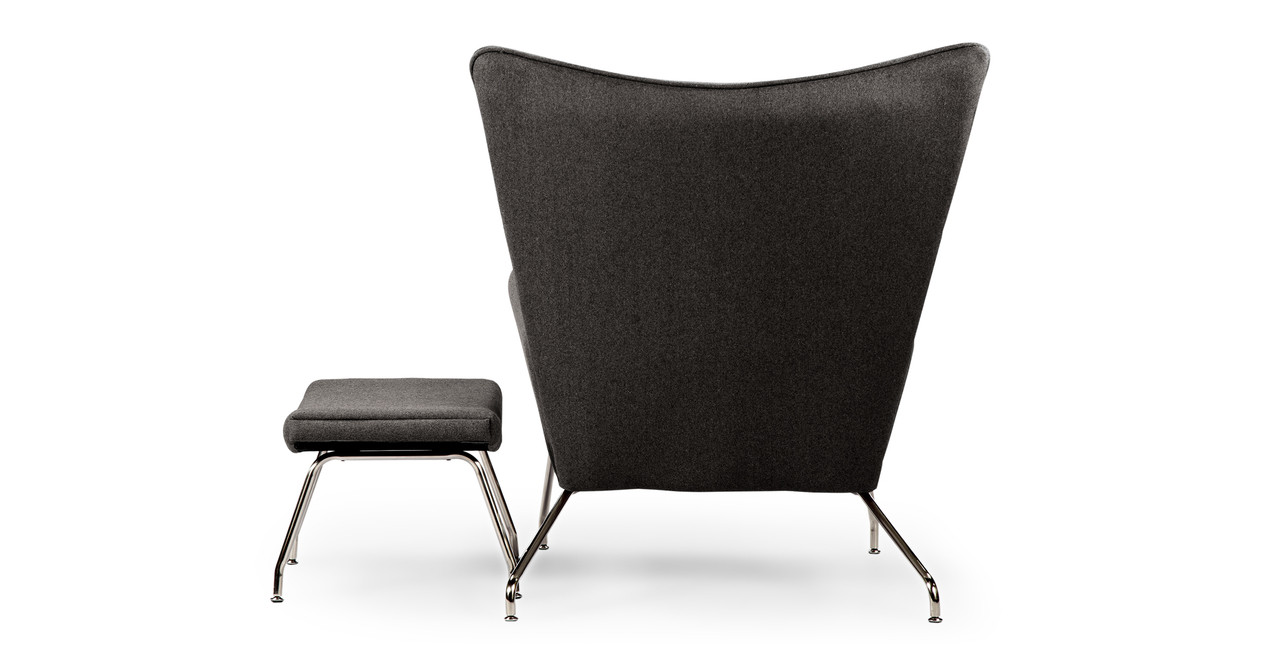 Wegner Wing Chair Ottoman Charcoal Kardiel