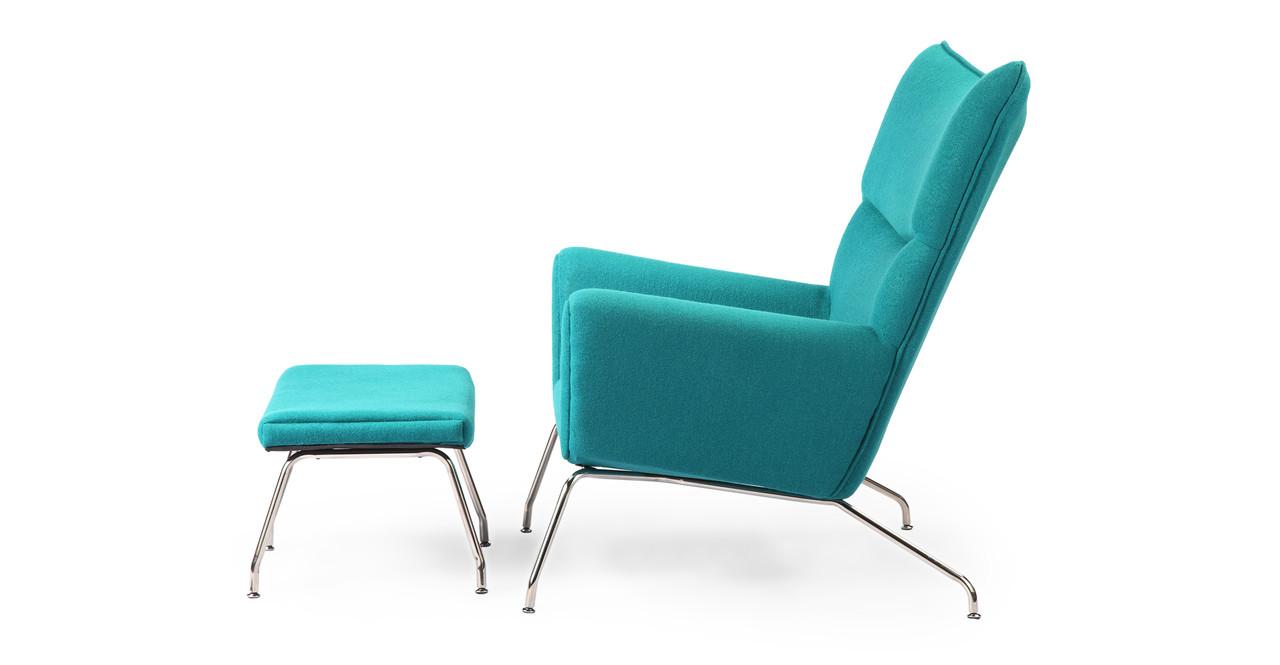 wegner wing chair ottoman turquoise kardiel