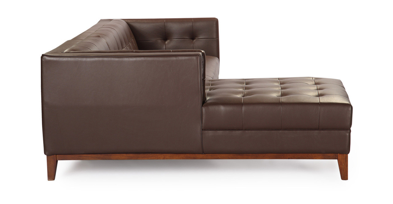 Awesome Harrison Chaise Sectional Left Bolivarian Brown Premium Leather Creativecarmelina Interior Chair Design Creativecarmelinacom
