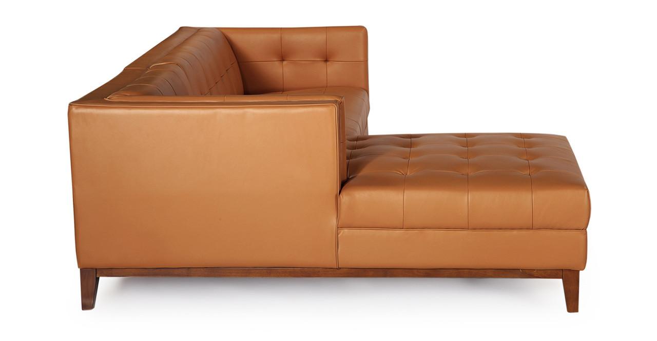 Awesome Harrison Chaise Sectional Left Saddle Brown Premium Leather Creativecarmelina Interior Chair Design Creativecarmelinacom