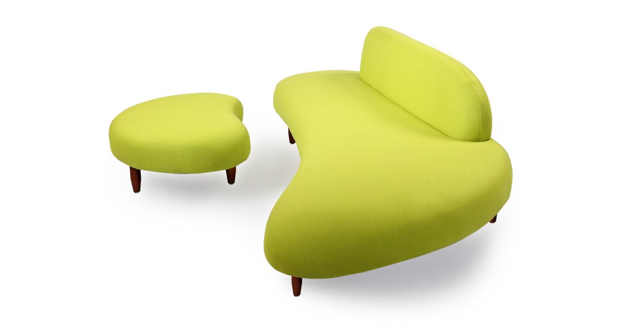 kidney bean sofa ottoman lime green kardiel rh kardiel com mint green modern sofa lime green modern sofa